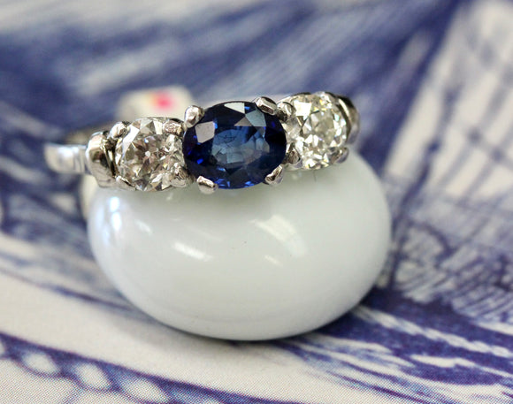 Gorgeous ~  Platinum Sapphire & Diamond Ring