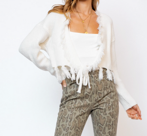 Fringe Wrap Sweater - White