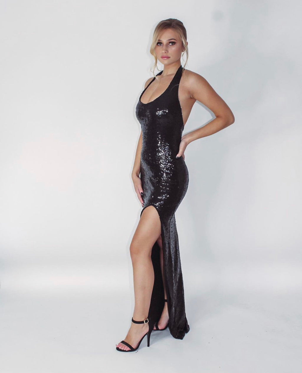 Sequin Halter Gown - Black