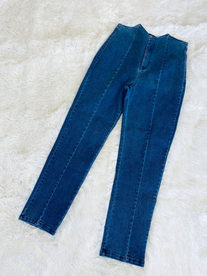 Pointy Waistband Jean - Blue