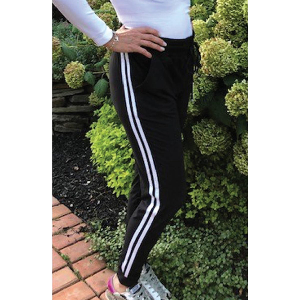 Double Stripe Jogger - Black