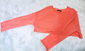 Long Sleeve Crop - Orange
