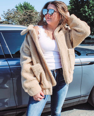 Cropped Teddy Jacket - Tan