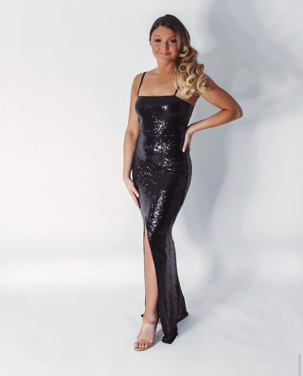 Sequin Square Neck Gown - Black