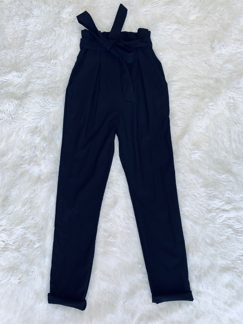 Tie Waist Dress Pants - Black