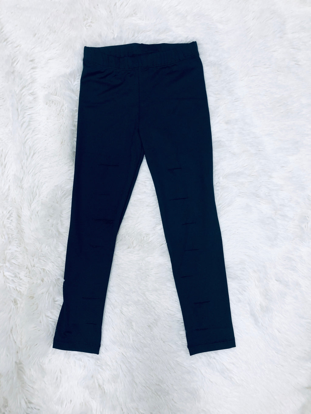 Kid's Slit Black Leggings