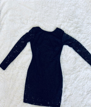 Long Sleeve Sparkle Dress - Black