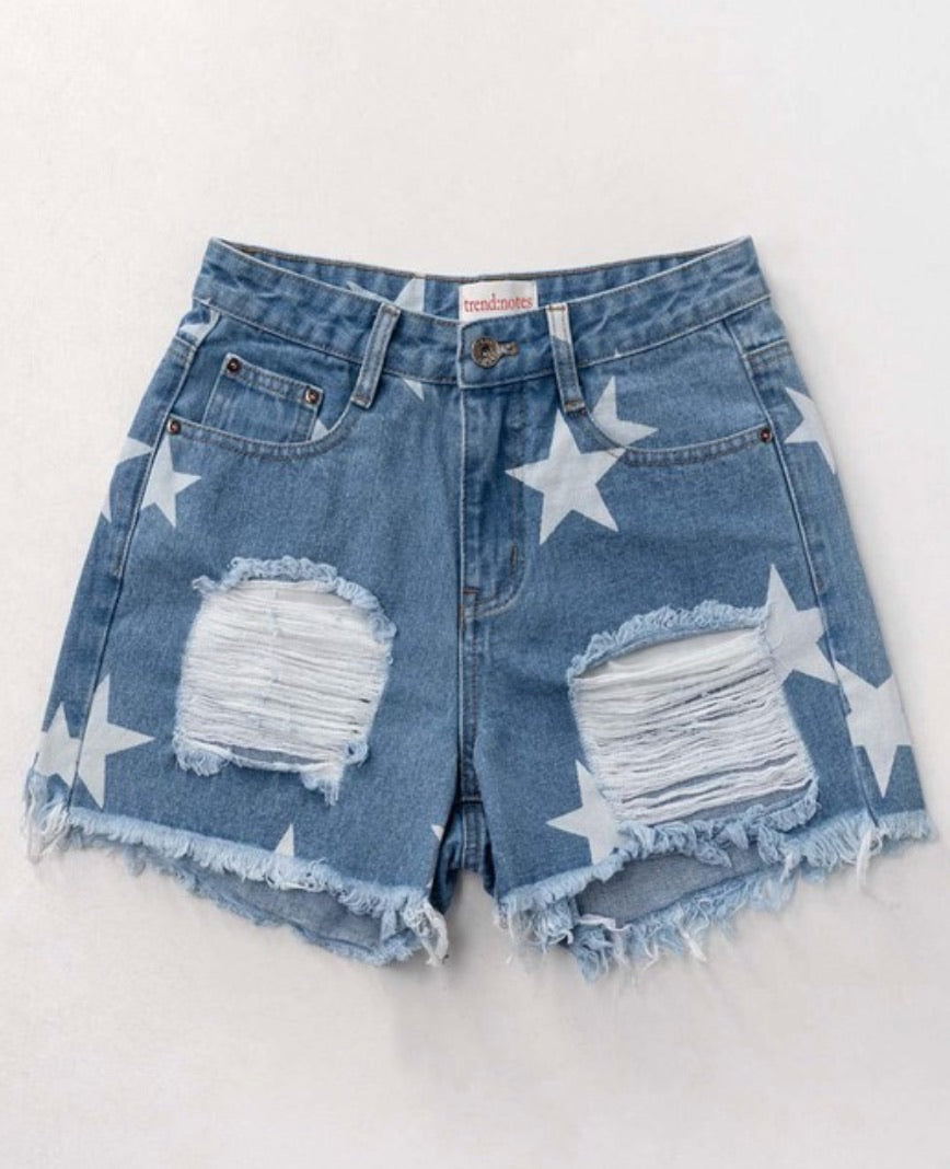 Distressed Star Shorts