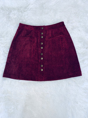 Corduroy Skirt - Burgundy