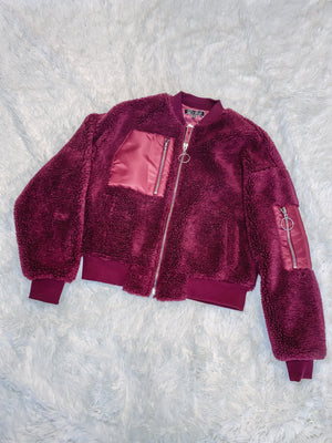 Teddy Ring Jacket - Burgundy