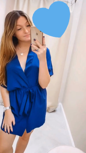 Button Tie Robe Dress - Navy