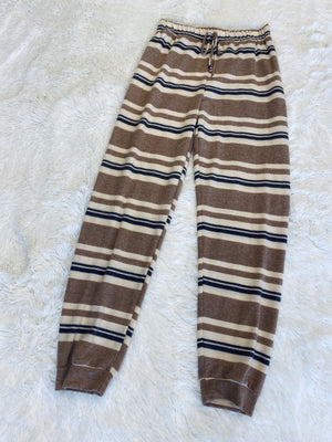 Striped Joggers - Brown