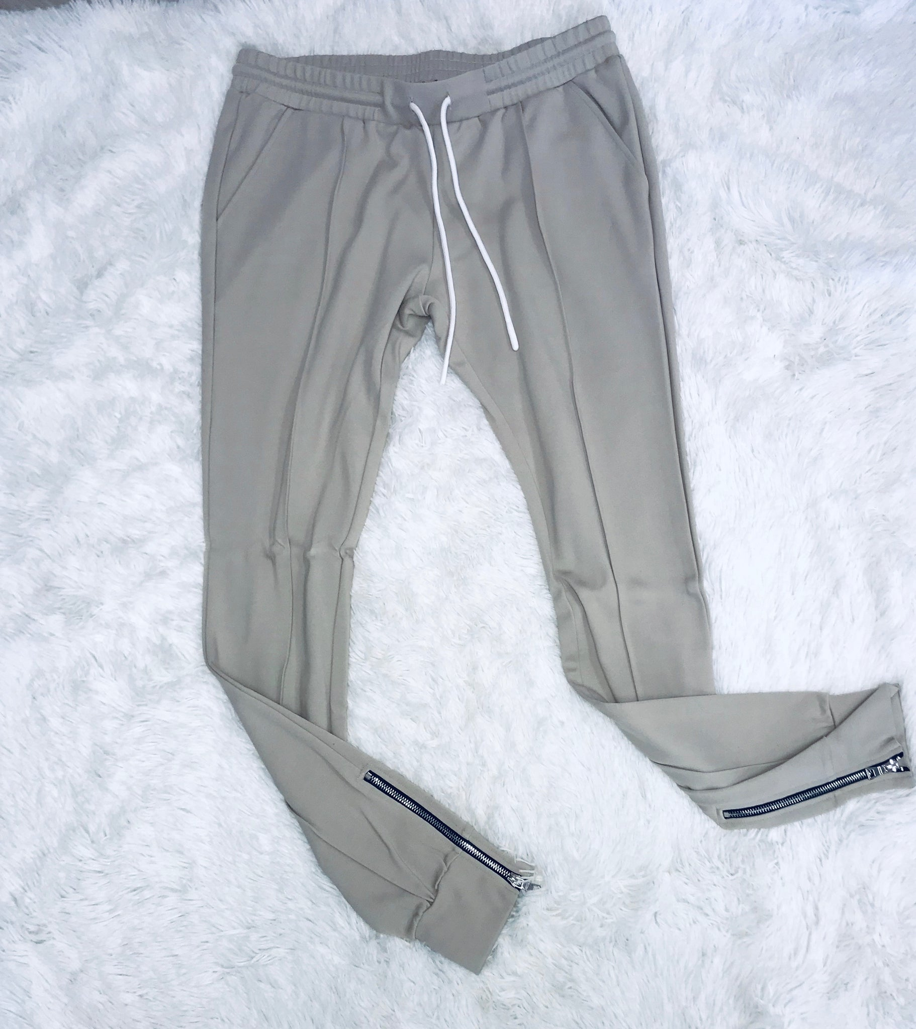 Zipper Crop Jogger Set - Taupe
