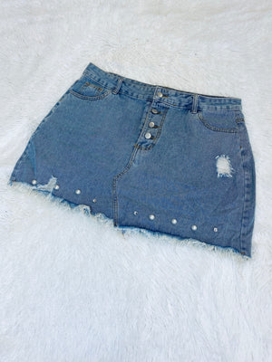 Beaded Skirt - Denim