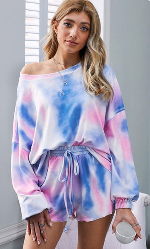 Tie Dye Short Set - Pink/Blue