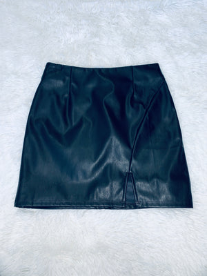Side Slit Leather Skirt
