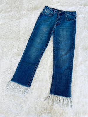Cropped Fringe Jean - Denim