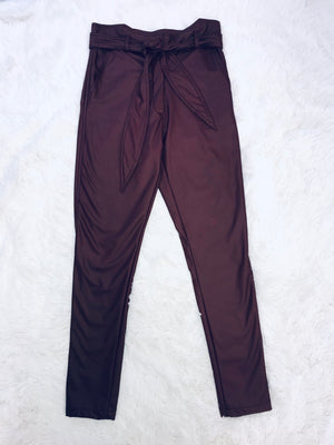 Leather Belted Pants - Merlot
