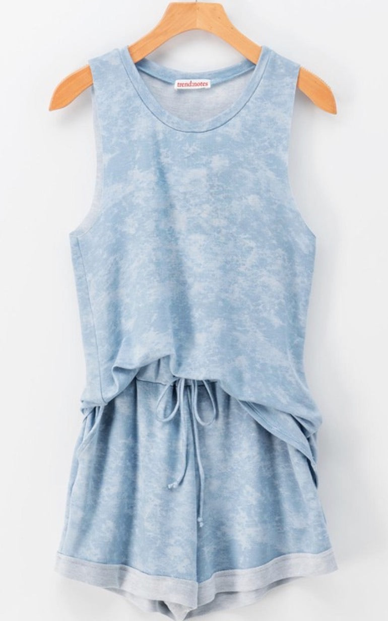 Acid Wash Short & Tank Set - Blue