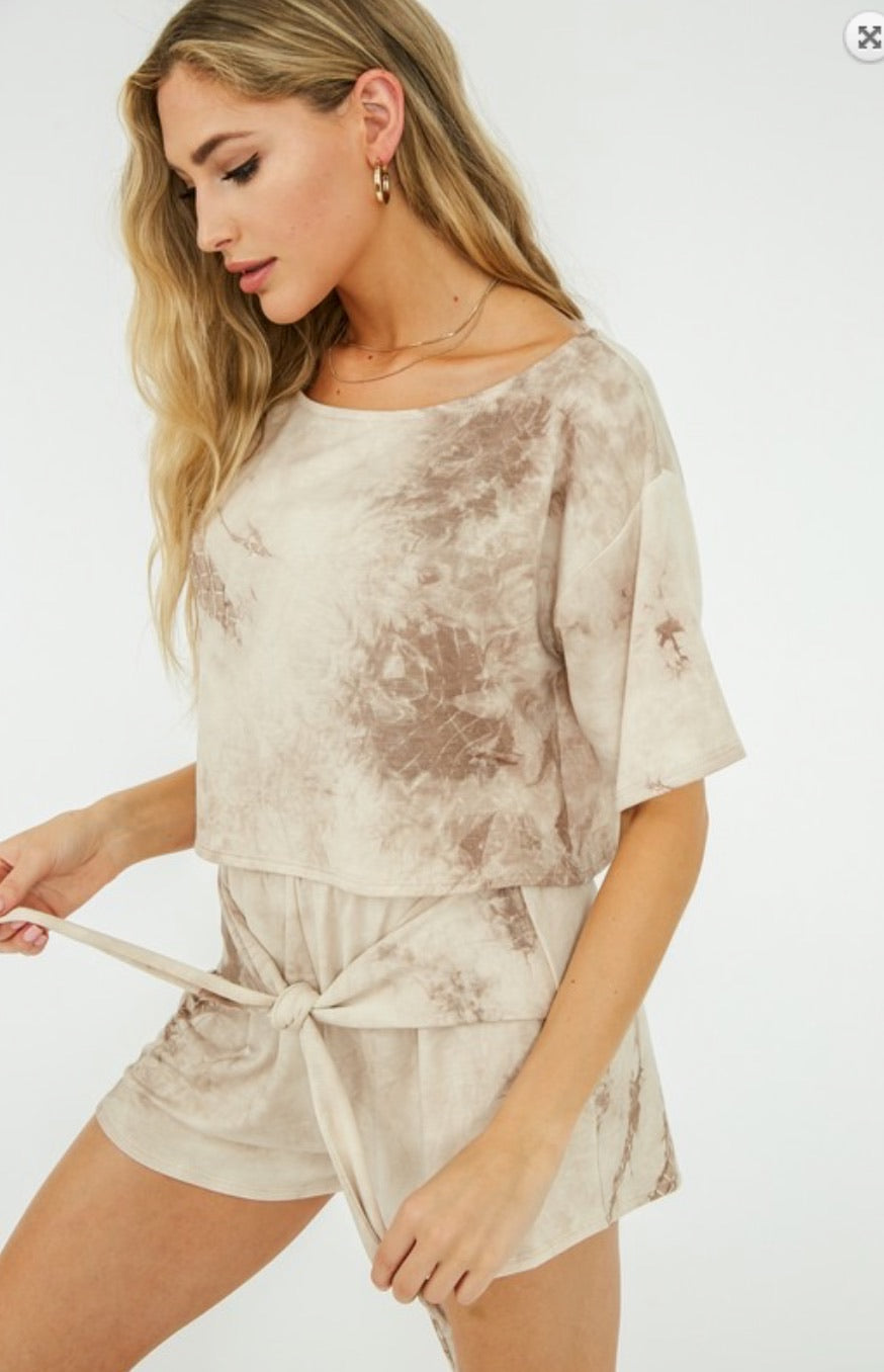 Tie Dye Short and Top Set - Taupe