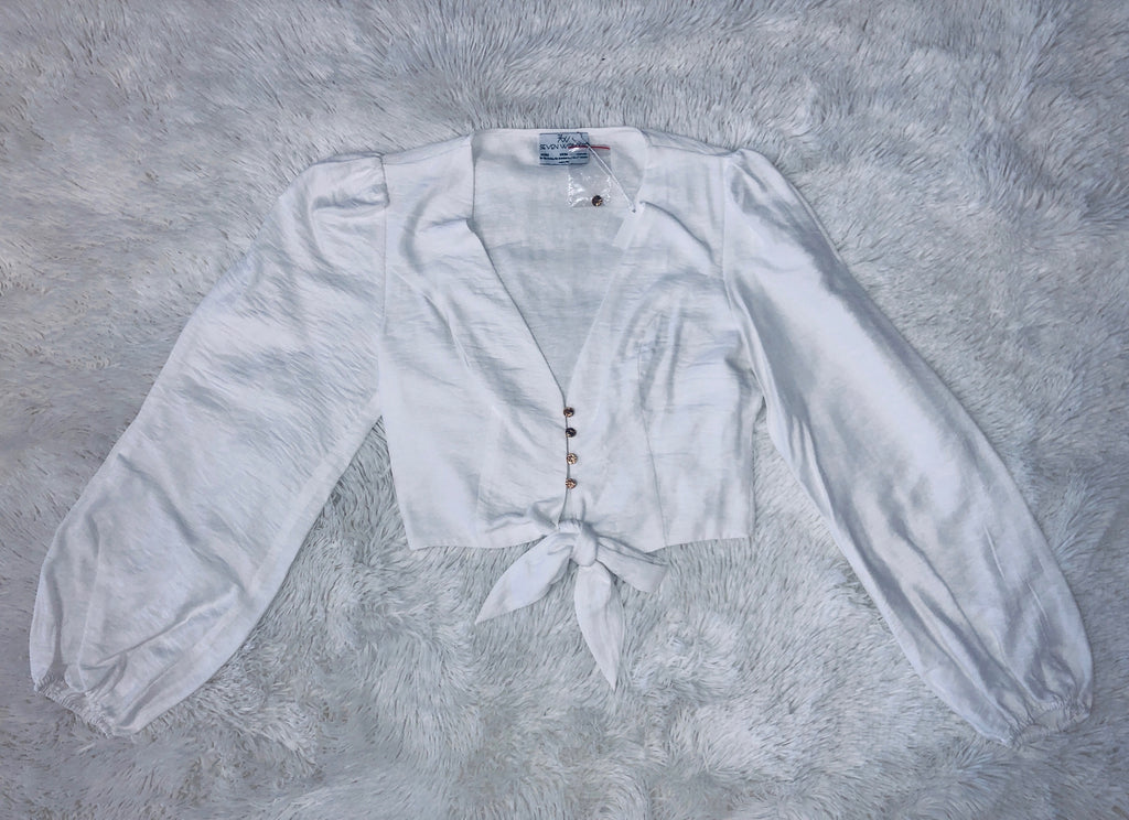 Long Sleeve Tie Crop Top