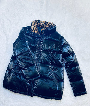 Puffer Jacket - Black and Cheetah