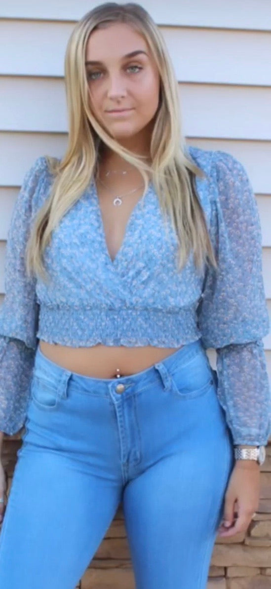 Floral Crop LS - Blue