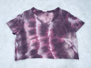 Short Sleeve Acid Wash Crop Top