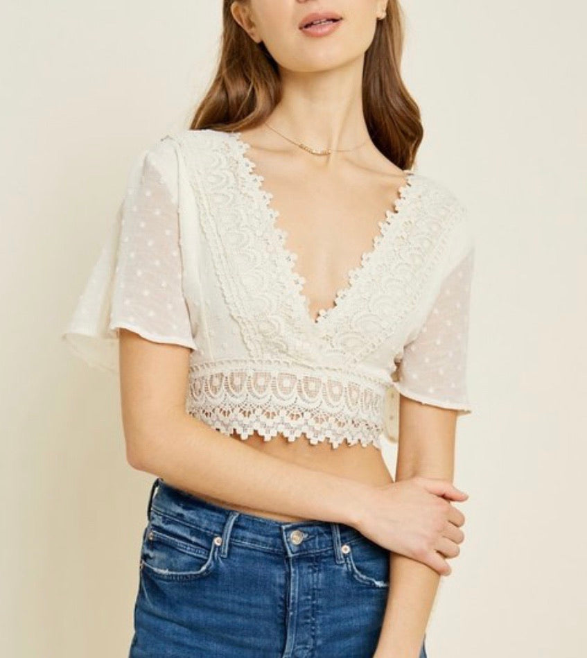 Crochet Lace Crop Top - Cream