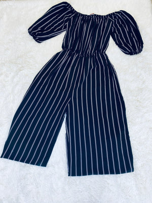 Striped Off Shoulder Jumpsuit