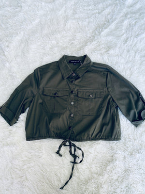 Tactical Button Crop - Olive