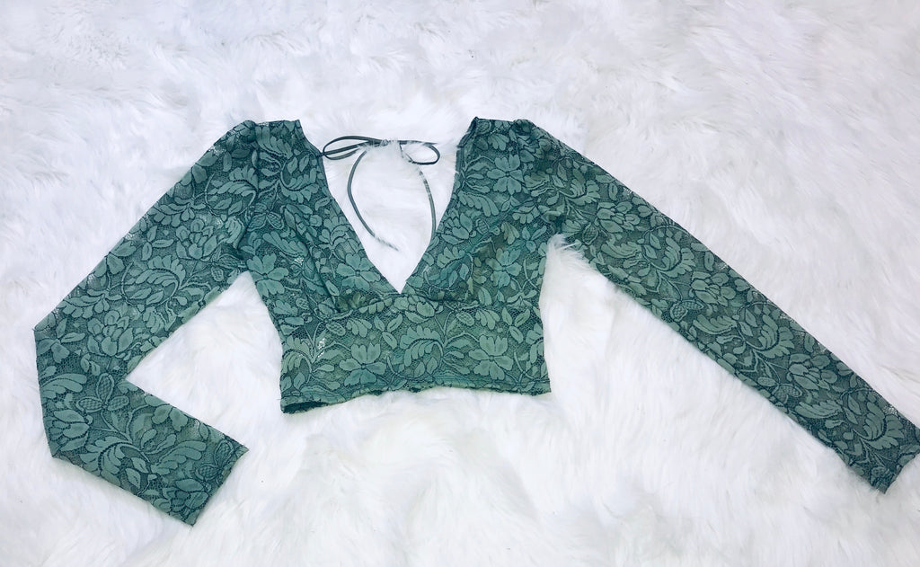 Lace Mesh Long Sleeve - Sage