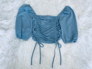 Square Neck Crop - Blue