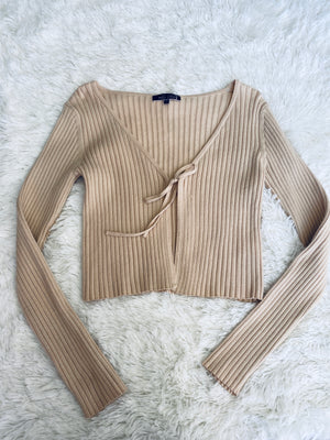 Ribbed Front Tie Knit Top - Cream