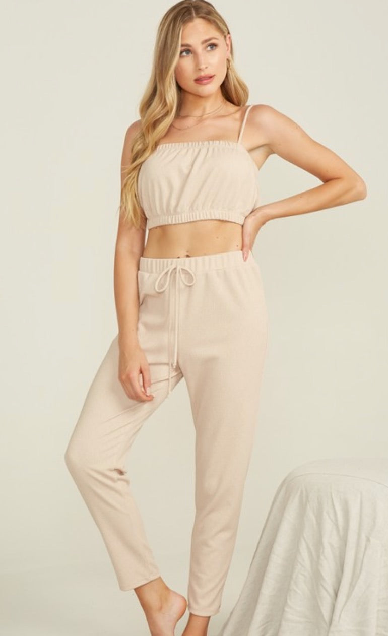 Spaghetti Top & Pant Set - Mauve