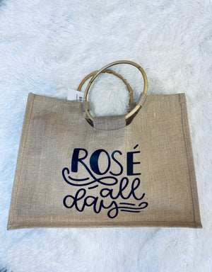 Rosé All Day Tote - Burlap