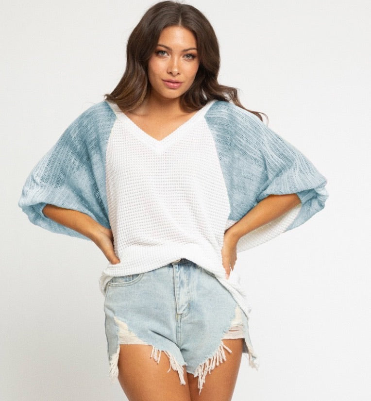 Knit Color Block Top - Light Blue