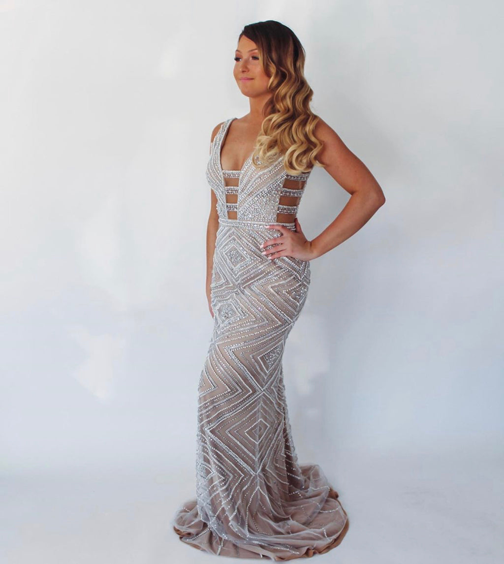 Jovani Sample Gown -Silver/Nude