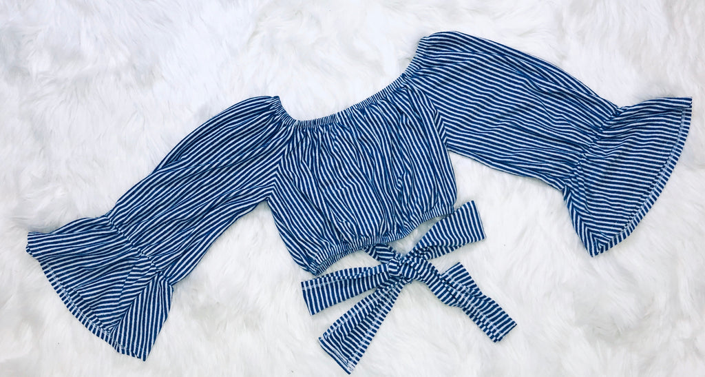 Striped Wrap Crop Top - Blue/White