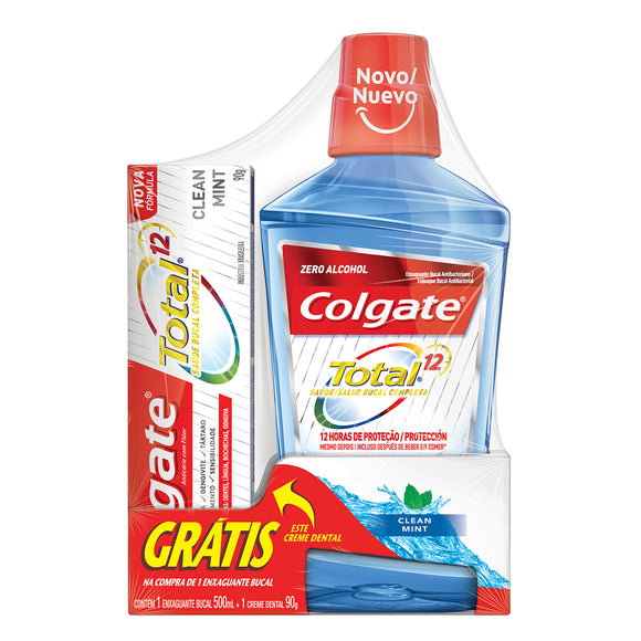Antisséptico Bucal COLGATE Total 12 Clean Mint 500ml Promo Grátis 1 Total 12 90g