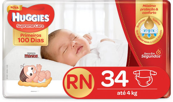 Fralda HUGGIES SUPREME CARE RN - 34 fraldas