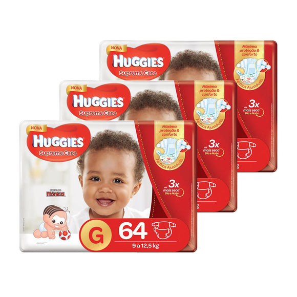 Kit de Fraldas Huggies Hiper Supreme Care G - 192 Unidades