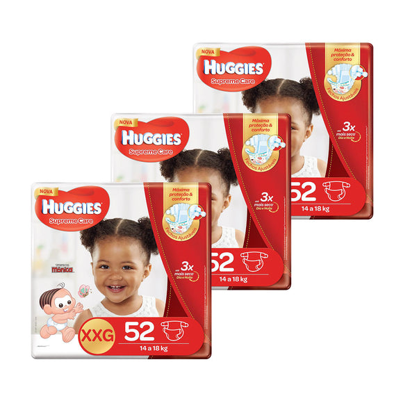 Kit de Fraldas Huggies Hiper Supreme Care XXG - 156 Unidades