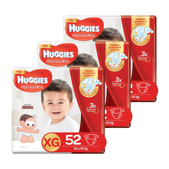 Kit de Fraldas Huggies Hiper Supreme Care XG - 156 Unidades