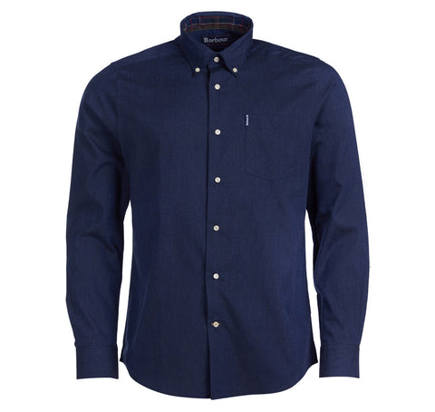 Hemd navy brushed cotton