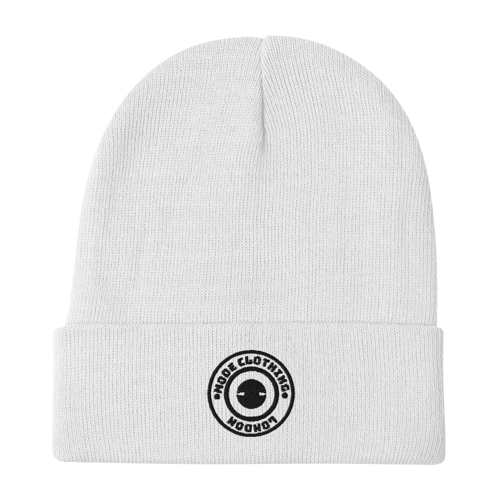 Embroidered Mode Clothing White Unisex Beanie - Mode Clothing London