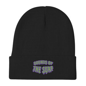 """SOUNDS OF THE SURF""  - Embroidered Graphic Beanie - Mode Clothing UK"