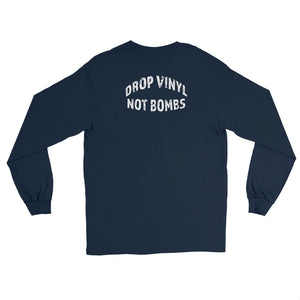 'Drop Vinyl Not Bombs' Long Sleeve Graphic T-shirt - Mode Clothing UK