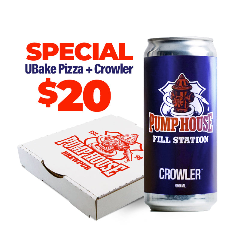 SPECIAL Ubake Pizza + CROWLER $20