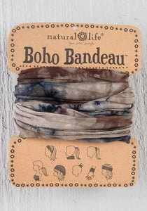 BOHO BANDEAU- TIE-DYE BROWN GREEN NA